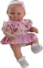 Bebé mini recién nacido con bonito vestido, muñeca 27 cm vinilo. En caja.