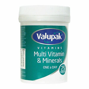 2 x Valupak Multi Vitamins & Minerals Tablets One a day 25 tablets