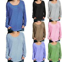 Plus Size Womens Basic Long Sleeve Loose Tunic T Shirt Blouse Casual Tee Top US