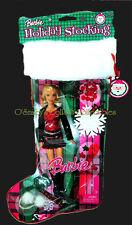 2008 HOLIDAY STOCKING GIFT SET Barbie Plaid Mini BLACK BOOT Ornament+N2232_NRFB