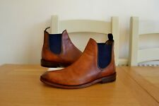"OLIVER SWEENEY ""ALLEGRO"" TAN LEATHER/LEATHER LINED CHELSEA BOOTS UK 9 RRP £189"