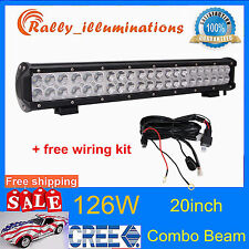 20 inch 126W LED WORK LIGHT BAR FLOOD&SPOT OFFROAD UTE SUV Driving LAMP+WIRING