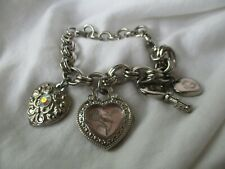 Guess Watch Silver Toned Charm Bracelet Band Heart Key Water Resistant WORKING!