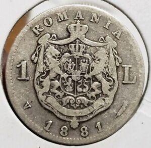 1881 1 Leu. Romania Carol  I  Silver