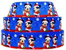 "Grosgrain Ribbon 7/8"" & 1.5"" Christmas Minnie & Mickey Mouse Snowflake Printed."