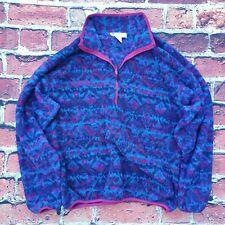Columbia Vintage 80s 90s Aztec Womens Fleece Sweater Quarter Zip Large Made USA