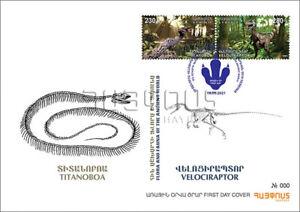 Armenia 2021 FDC Mi 1198-9 Fauna Ancient snake Titanoboa Velociraptor dinosaur