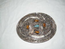 "Vintage silver large, oversize belt buckle w/tigers eye & turquoise accents 8"" L"