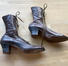 Women's Victorian Antique Brown Leather Lace up Shelby Boots
