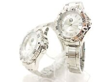 ES Luxury watches couple silver 30mm 40mm men women with Swarovski stone alloy