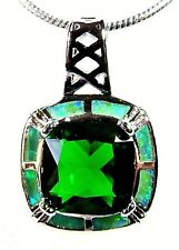Silver 925 SF Pendant Green Lab Fire Opal & 8mm Princess Cut Emerald