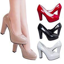 Evening Pumps Block Heel High Heels Clubbing Wedding Prom Womens patent Shoes