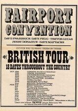 FAIRPORT CONVENTION British Tour 1973 UK Poster size Press ADVERT 16x12 inch
