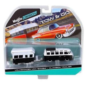Maisto 1:64 TOW & GO Volkswagen Van SAMBA & Alameda Trailer Black White 15368H