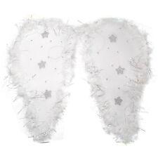 White - Mesh angel wings with fluffy edge & glitter stars