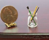 Dollhouse Miniature Glass Jar with 3 Artists Brushes