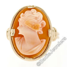 Vintage ESEMCO Grooved 14k Yellow Gold Frame Shank Large Carved Shell Cameo Ring