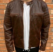 Zara Men's Brown/Maroon Leather Jacket Size Large