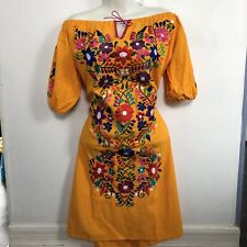 Yellow Mexican Dress, Embroidered Dress, Vestido Mexicano, Mexican Clothing, M