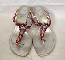 $675 RENE CAOVILLA Silver Metallic Gem Pearl Beaded Sandals Heels SHOES Size 6.5