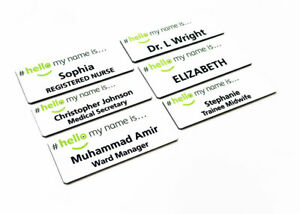 Personalised Hello My Name is Printed Green Logo Badge NHS Hospital Care Worker