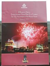 CUNARD LINE QUEEN MARY QM2 10TH ANNIVERSARY SPECIAL MENU 12TH JAN 2014