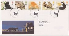 GB ROYAL MAIL FDC FIRST DAY COVER 1995 CATS STAMP SET KITTS GREEN PMK