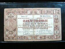 NETHERLANDS 1 GULDEN 1938 DUTCH SILVER ZILVERBON 381# BANK BANKNOTE MONEY