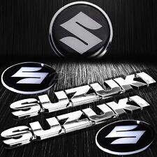 "6"" 3D 4mm Thick Emblem+2.5""Chromed&Crystal Suzuki Logo Tank/Fender Badge Sticker"