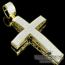Uomo Donna Vera Diamante 14K Finitura Oro Giallo Gesù Croce Ciondolo