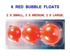 6 BUBBLE FLOATS,RED,SMALL,MEDIUM,LARGE,FOR SEA GAME TROUT FLOAT ROD LINE FISHING