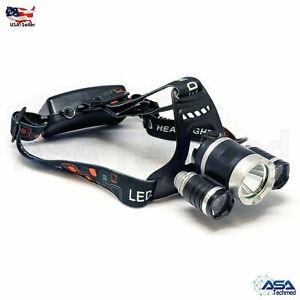 15000 Lumen Rechargeable Headlamp XM-L 3x T6 LED Headlight 18650 Battery