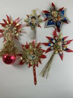 Lot of 5 Vintage Christmas Ornaments Die Cut Faces Foil Tinsel Handmade
