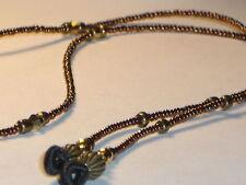 "Eyeglass Chain~Bold Bronze~Gold Crystals~Handmade~28""~Fancy Ends~Buy 3 SHIP FREE"