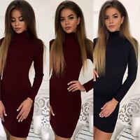 New Women Autumn Winter Long Sleeve Knit Bodycon Sweater Mini Dress Knitwear