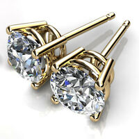 2.00 CT Natural Diamond Earring Studs Certified 14K Solid Yellow Gold Stud VS1