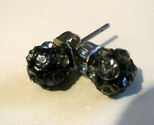 white stone globe style decoration Earrings silver tone metal with