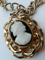 "Vintage Black and White LARGE CAMEO Pendant 18""- 20""  LARGE Gold tone necklace"