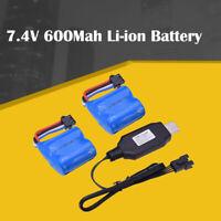 2pcs 7.4V 600Mah Li-ion Battery 4P plug/USB Charger for UDI001 RC Racing Boat