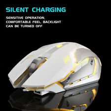 Rechargeable X7 Wireless Silent LED Backlit USB Optical Ergonomic White Mouse