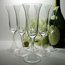 Vintage CHAMPAGNE FLUTES Toasting GLASSES Elegant Set of 6 ~ Unusual OPEN STEMS