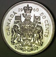 1960 Canada 50 Cents Silver Half Dollar BU Queen Elizabeth the Second