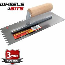 "11"" Float Trowel Notched Builder Brick Plasterer Flooring Adhesive wooden Handle"