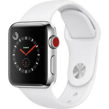 Apple Watch Series 3 42mm Stainless Steel, Soft White Sport Band GPS + Cellular