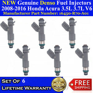 Set of 6 NEW OEM Denso Fuel Injectors For 2008-2013 Acura MDX 3.7L V6
