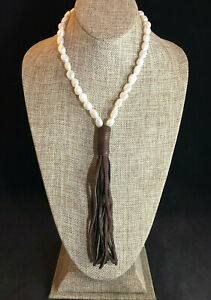 Freshwater Pearl Necklace Brown Leather Tassel White Baroque 10-14mm Adjst #1653