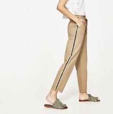 23df3abb Zara Tan Trousers Pants With Side Bands Fringe Stripe Drawstring Size 6 NWOT