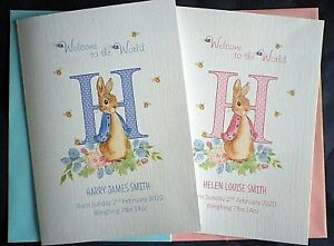 Personalised NEW BABY CARD with a rabbit / Welcome to the World / Boy or Girl
