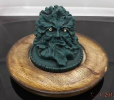 GREEN MAN OF THE FOREST GOTHIC INCENSE BURNER ON WOODEN BASE NEW IN BOX