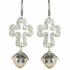 Sanctuary Cross No Monet Earrings Slilver Green Hand Crafted in USA Pearl